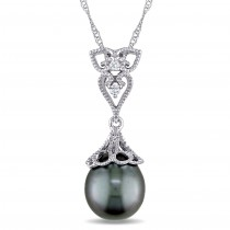 Diamond & Tahitian Pearl Fashion Pendant 14k White Gold (9-9.5mm)