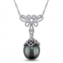 Diamond & Black Tahitian Pearl Necklace 14k White Gold (9-9.5mm)