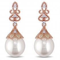 Diamond & Freshwater Pearl Ear Pin Earrings 14k Rose Gold (9-9.5mm)