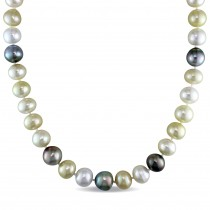Multi-Colored South Sea & Tahitian Pearl Necklace 14k Y Gold (10-12mm)