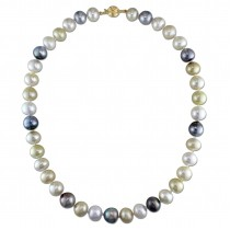 Multi-Colored South Sea & Tahitian Pearl Necklace 14k Y Gold (10-12mm)|escape