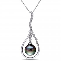 Diamond & Tahitian Pearl Fashion Pendant 14k White Gold (11-11.5mm)