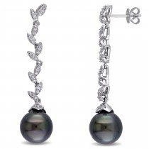 Diamond & Black Tahitian Pearl Dangle Earrings 14k W Gold (11-11.5mm)