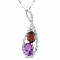 Oval Garnet, Amethyst & Diamond Twist Pendant 14k White Gold (3.50ct)