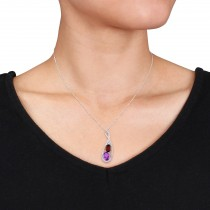 Oval Garnet, Amethyst & Diamond Twist Pendant 14k White Gold (3.50ct)|escape