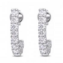 Diamond Ear Pin Huggie Half-Hoop Earrings 14k White Gold (1.00ct)