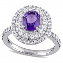 Oval Purple Amethyst & Diamond Halo Ring 14k White Gold (2.10ct)