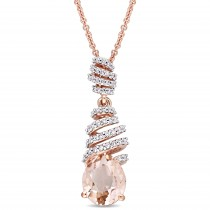 Pear Morganite & Diamond Fashion Pendant 14k Rose Gold (2.45ct)