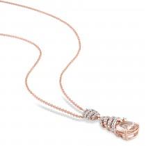 Pear Morganite & Diamond Swirl Pendant Necklace 14k Rose Gold (2.45ct)|escape