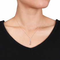 Pear Morganite & Diamond Swirl Pendant Necklace 14k Rose Gold (2.45ct)