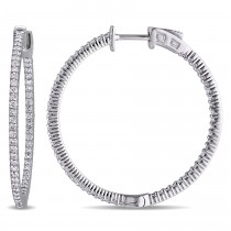 Diamond Hinged Hoop Earrings 14k White Gold (1.00ct)
