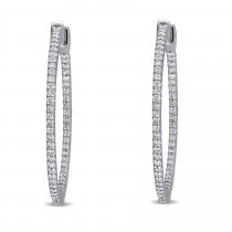 Diamond Hinged Hoop Earrings 14k White Gold (1.00ct)|escape