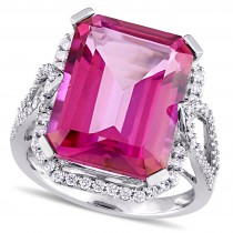 Emerald Cut Pink Topaz & Diamond Fashion Ring 14k White Gold (15.00ct)