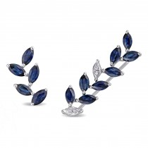 Marquise Sapphire & Diamond Fashion Earrings 14k White Gold (1.58ct)