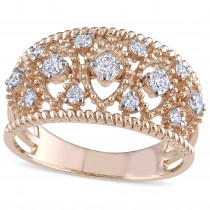 Diamond Accented Filigree Fashion Ring 18k Rose Gold (0.25ct)