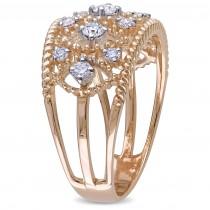Diamond Accented Filigree Fashion Ring 18k Rose Gold (0.25ct)|escape