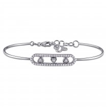 Diamond Triple Heart Bangle Bracelet 18k White Gold (0.23ct)