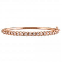 Diamond Rope Link Bangle Bracelet 14k Rose Gold (0.88ct)