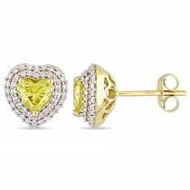 Halo Heart Yellow & White Diamond Earrings 14k Yellow Gold (1.375ct)
