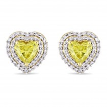 Halo Heart Yellow & White Diamond Earrings 14k Yellow Gold (1.375ct)|escape