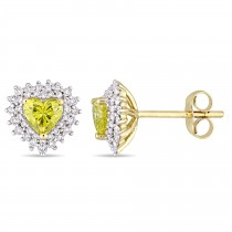 Halo Heart Yellow & White Diamond Earrings 14k Yellow Gold (1.00ct)