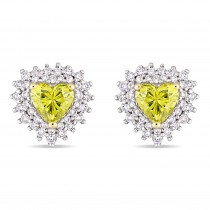 Halo Heart Yellow & White Diamond Earrings 14k Yellow Gold (1.00ct)|escape