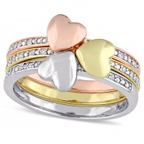 Three Piece Diamond Heart Ring Set 14k Multi Tone Gold (0.09ct)