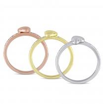 Three Piece Diamond Heart Ring Set 14k Multi Tone Gold (0.09ct)