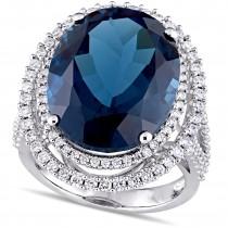 Oval Blue Topaz & Diamond Fashion Ring 14k White Gold (22.875ct)