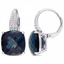 Cushion Blue Topaz & Diamond Earrings 14k White Gold (20.20ct)