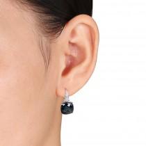 Cushion Blue Topaz & Diamond Earrings 14k White Gold (20.20ct)