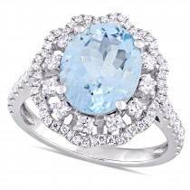 Oval Aquamarine & Diamond Halo Fashion Ring 14k White Gold (3.50ct)