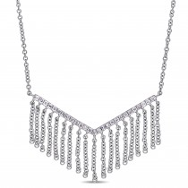 Diamond Chevron Dangling Pendant Necklace 14k White Gold (0.19ct)