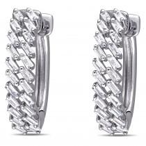 Diamond Baguette-Cut Huggie Hoop Earrings 14k White Gold (0.35ct)