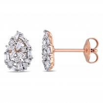 Diamond Pear-Shaped Cluster Earrings Gold 14k Rose Gold (0.07ct)