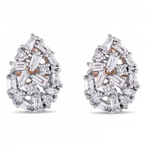 Diamond Pear-Shaped Cluster Earrings Gold 14k Rose Gold (0.07ct)|escape
