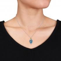 Pear Blue Topaz Peridot & Diamond Necklace 14K White Gold (7.45ct)