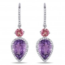Pear Amethyst Pink Tourmaline & Diamond Earrings 14K White Gold (6.57ct)