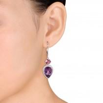 Pear Amethyst Pink Tourmaline & Diamond Earrings 14K White Gold (6.57ct)