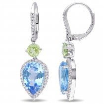 Pear Blue Topaz Peridot & Diamond Earrings 14K White Gold (8.79ct)