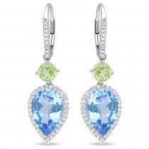 Pear Blue Topaz Peridot & Diamond Earrings 14K White Gold (8.79ct)|escape