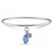 Marquise Blue Topaz Bangle Bracelet Sterling Silver (2.00ct)