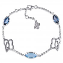 Marquise Blue Topaz Bracelet Sterling Silver (4.60ct)