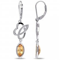 Marquise Citrine Dangle Earrings Sterling Silver (2.00ct)