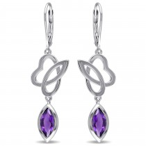 Marquise Amethyst Dangle Earrings Sterling Silver (2.00ct)