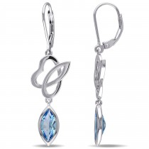 Marquise Blue Topaz Dangle Earrings Sterling Silver (2.60ct)