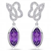 Marquise Amethyst & Diamond Dangle Earrings 14K White Gold (2.20ct)