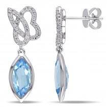 Marquise Blue Topaz & Round Diamond Earrings 14K White Gold (2.80ct)