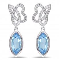 Marquise Blue Topaz & Round Diamond Earrings 14K White Gold (2.80ct)