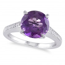 Round Amethyst & Diamond Fashion Ring Sterling Silver (3.12ct)